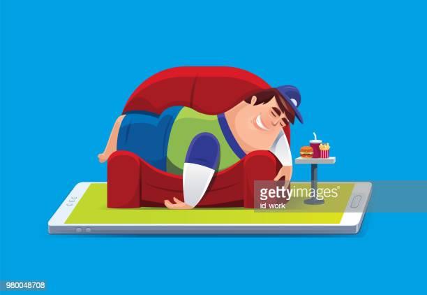 illustrations, cliparts, dessins animés et icônes de paresseux gros homme couché sur le canapé avec smartphone - mou