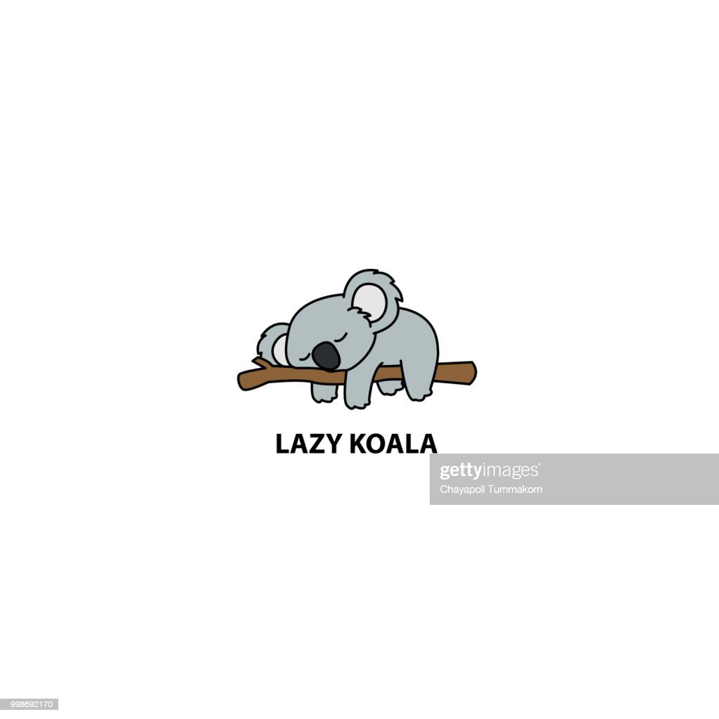 Lazy koala sleeping on a branch cartoon, vector illustration