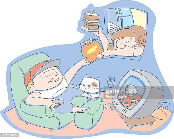 ilustraciones, imágenes clip art, dibujos animados e iconos de stock de lazy hombre - familia viendo tv