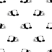 Lazy panda cartoon seamless pattern on white background