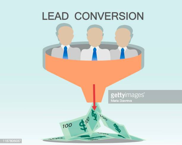 lead conversionl. the process of converting prospects into customers. - pbs stock illustrations