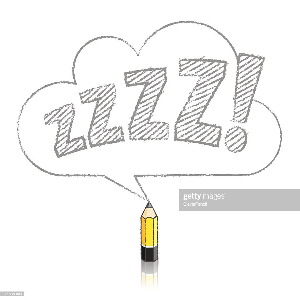 Lead Yellow Pencil Drawing Snoring Zs In Cloud Speech Balloon Vector