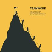 Leader help their friend to climb to the top of the mountain. Vector illustration.