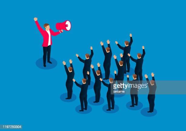 stockillustraties, clipart, cartoons en iconen met leider met megafon om een groep zakenlieden te richten die schreeuwen om het moreel te stimuleren - politicus