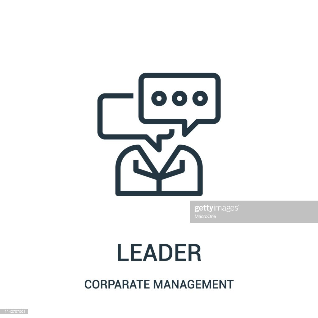 leader icon vector from corparate management collection. Thin line leader outline icon vector illustration. Linear symbol for use on web and mobile apps, logo, print media.
