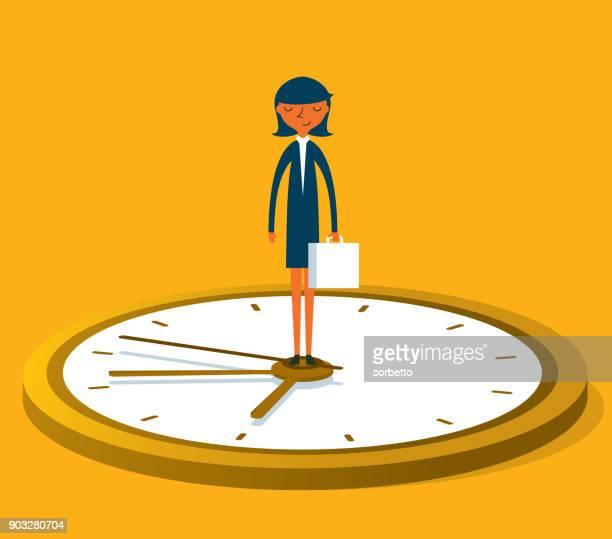 ilustrações, clipart, desenhos animados e ícones de líder em tempo - empresária - tempo