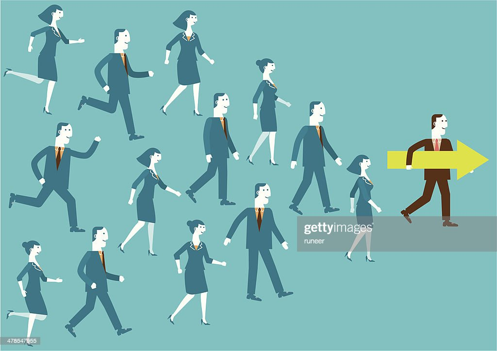 Leader Shows Direction | New Business Concept : stock illustration