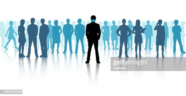 illustrazioni stock, clip art, cartoni animati e icone di tendenza di i leader indossano maschere - grande gruppo di persone