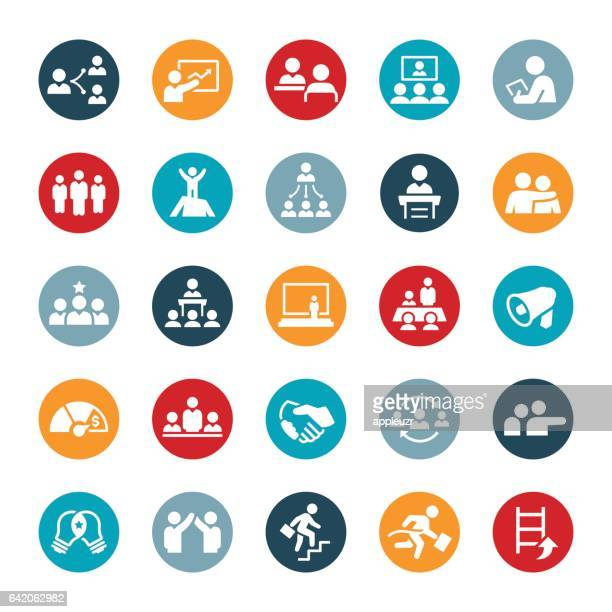 leadership and management icons - co ordination stock illustrations
