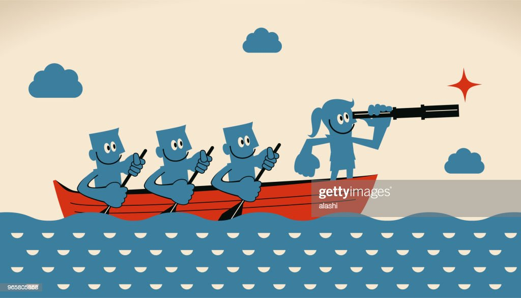 Leadership and teamwork concept, businesswoman leader with telescope and group of businessmen with oar on boat : Vector Art