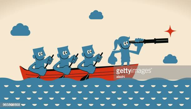 Leadership and teamwork concept, businesswoman leader with telescope and group of businessmen with oar on boat