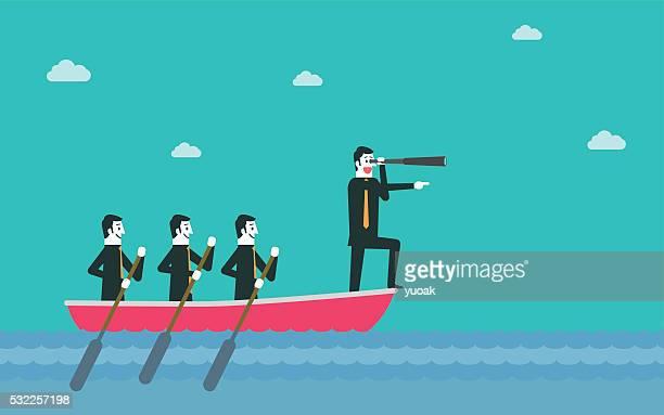 illustrations, cliparts, dessins animés et icônes de leadership et de travail en équipe - bateau à rames