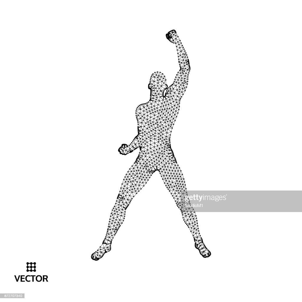 Leadership concept. Standing Man. Human with arm up. Silhouette for sport championship. Vector Illustration.