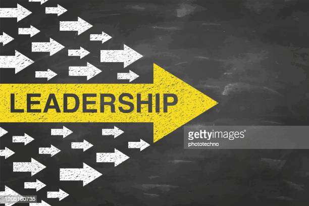 leadership concepts with arrows on blackboad background - leadership stock illustrations
