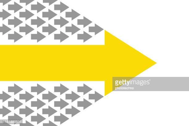 矢印付きのリーダーシップの概念 - 行く手点のイラスト素材/クリップアート素材/マンガ素材/アイコン素材
