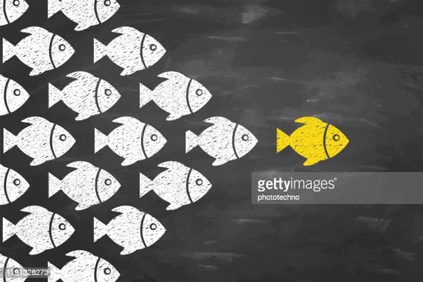 führungskonzepte mit fischen auf blackboad-hintergrund - überzeugen stock-grafiken, -clipart, -cartoons und -symbole