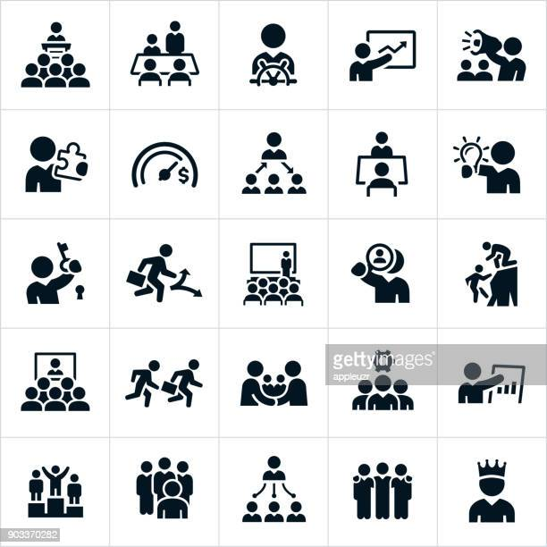leadership icons - teamwork stock illustrations