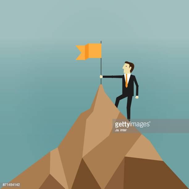 ilustrações, clipart, desenhos animados e ícones de sucesso de liderança - mountain peak