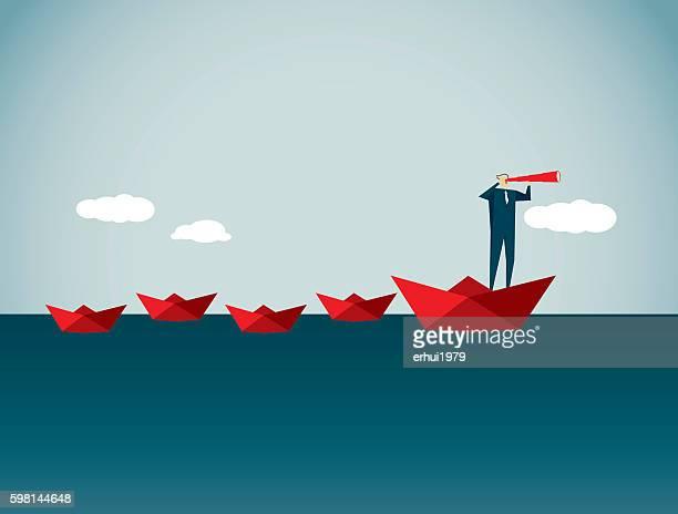 leadership - floating on water stock illustrations