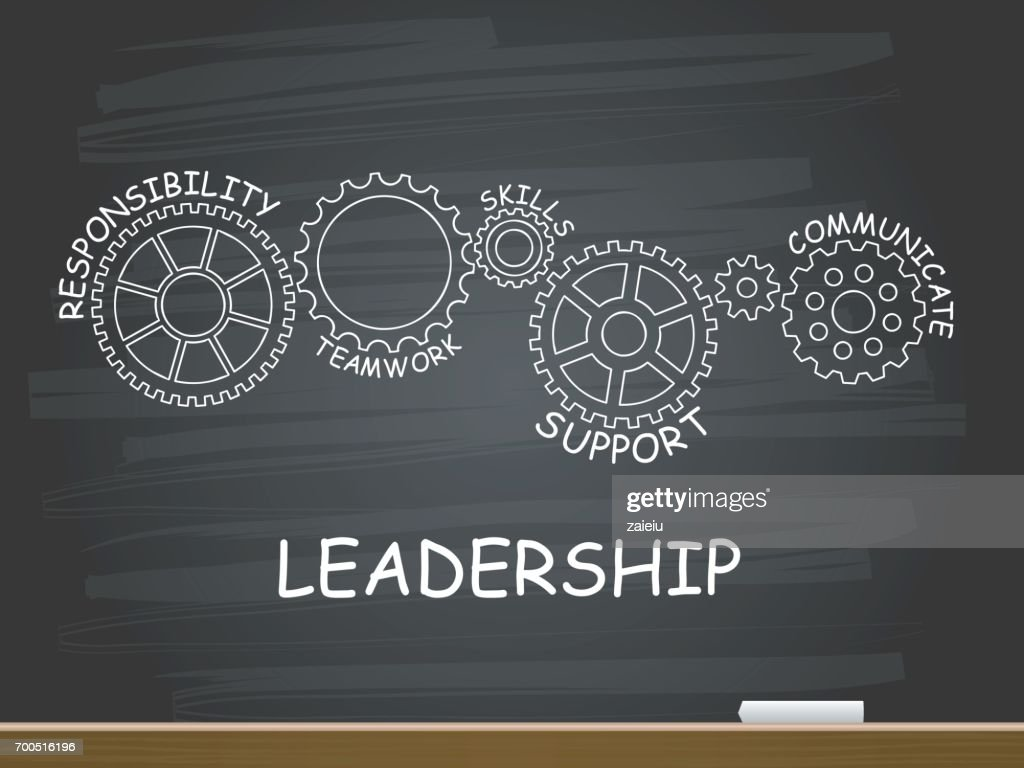 Leadership With Gear Concept On Chalkboard Vector
