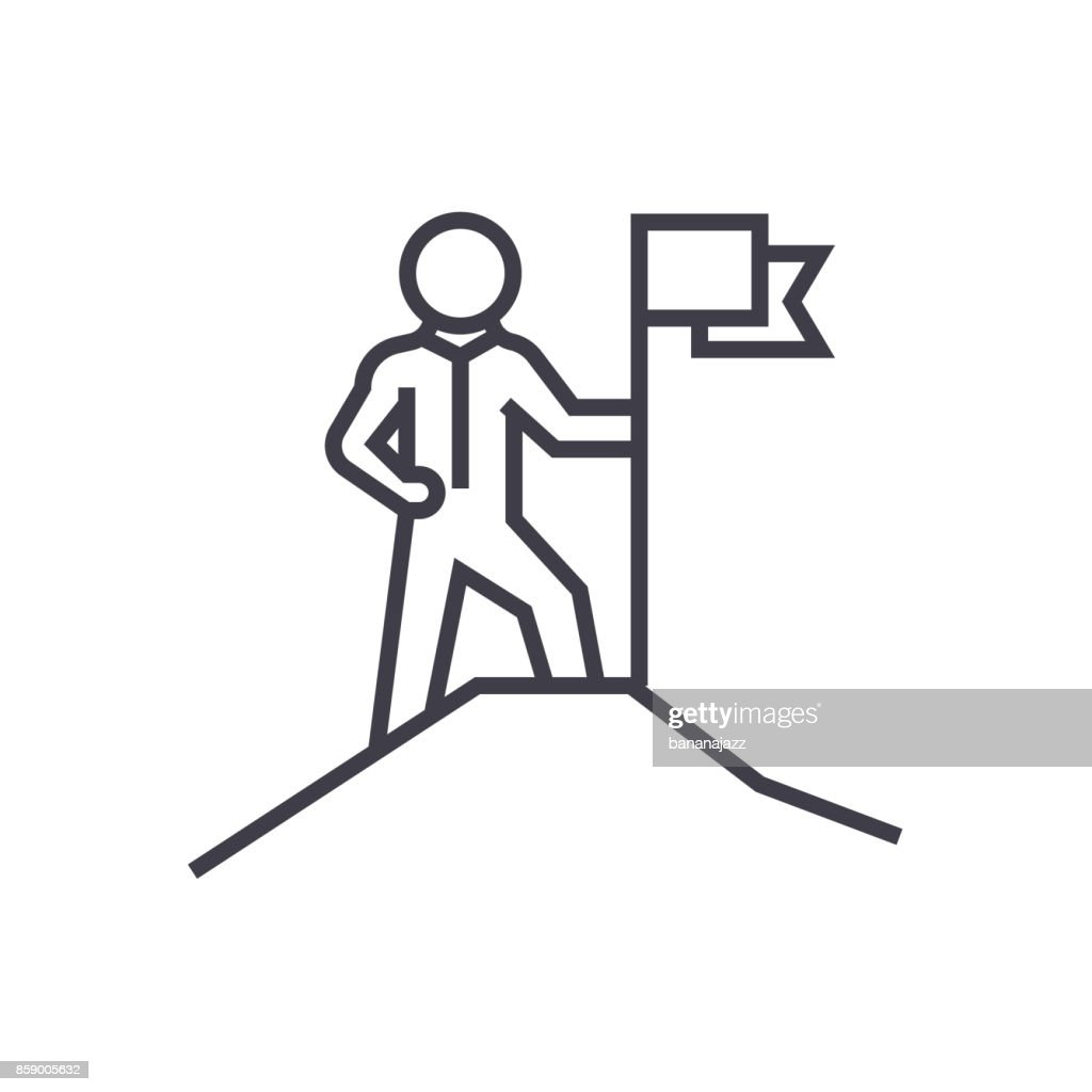 leadership,man with flag vector line icon, sign, illustration on background, editable strokes