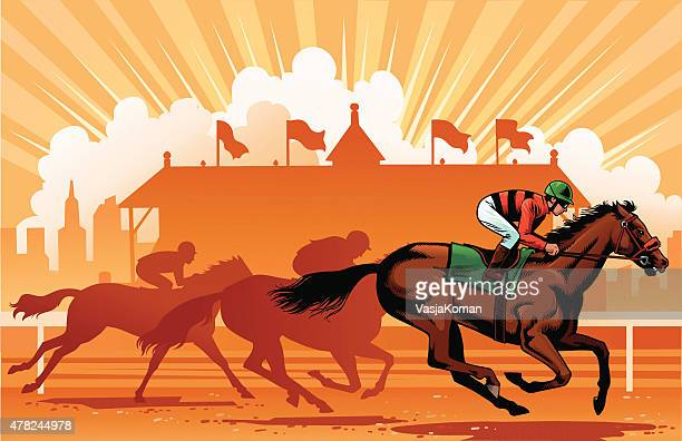 leading thoroughbreds in the horse race - horse racing stock illustrations