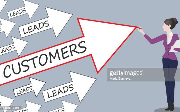 leads customers concept. - pbs stock illustrations