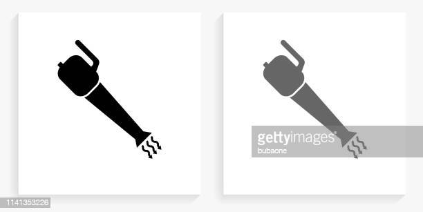 leaf blower black and white square icon - leaf blower stock illustrations