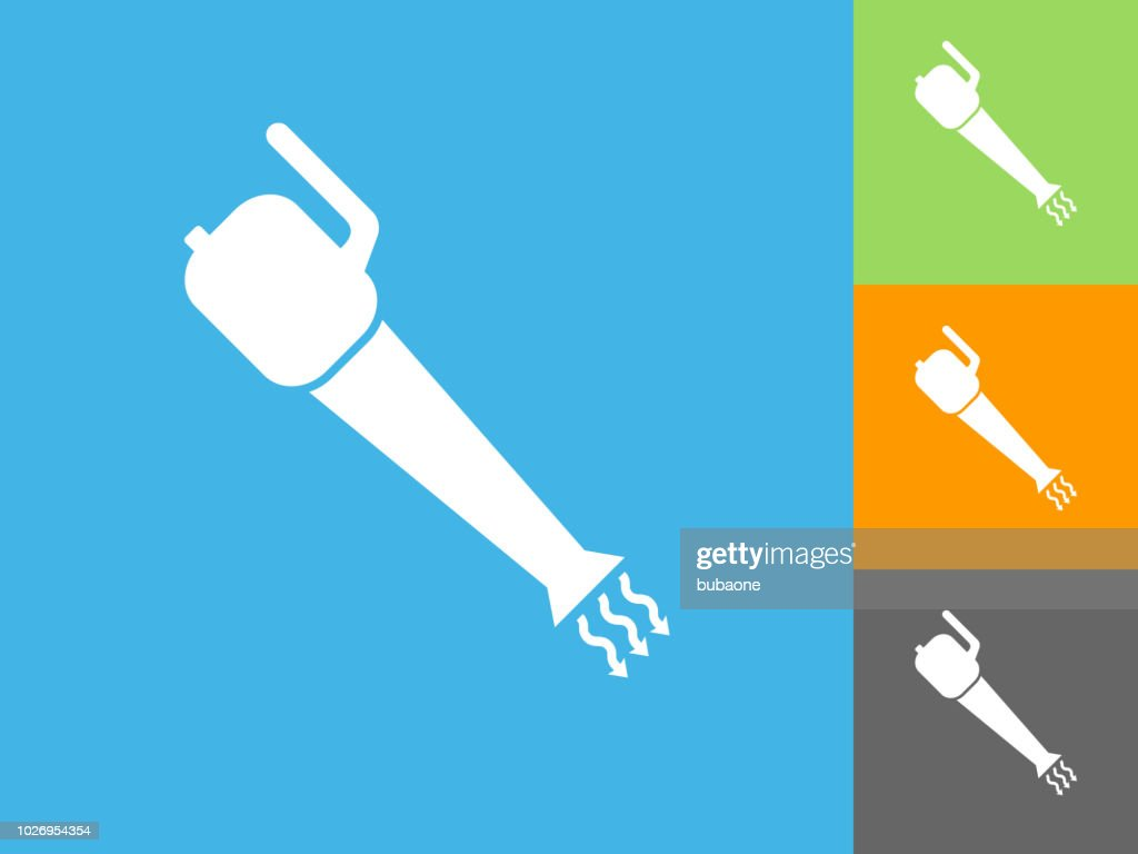 Leaf Blower Flat Icon on Blue Background : stock illustration