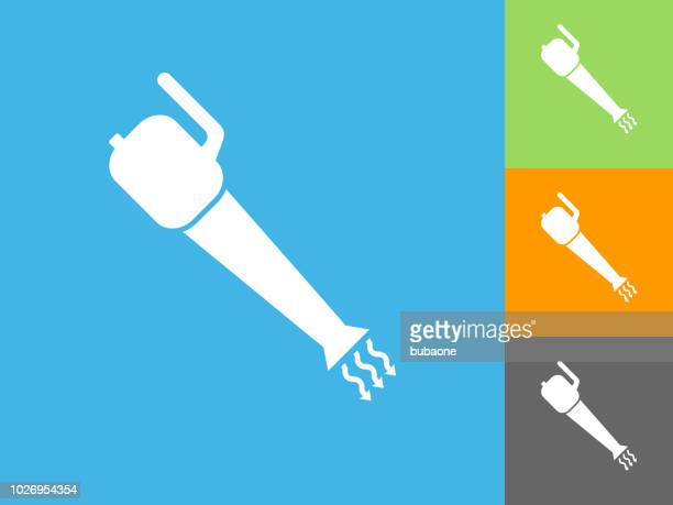 leaf blower flat icon on blue background - leaf blower stock illustrations