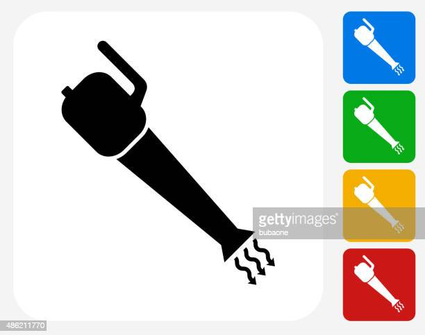 leaf blower icon flat graphic design - leaf blower stock illustrations, clip art, cartoons, & icons