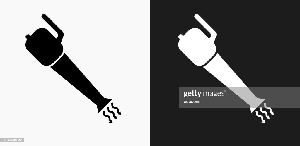 Leaf Blower Icon on Black and White Vector Backgrounds