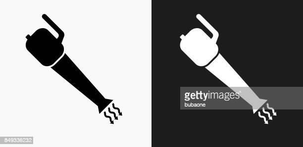 leaf blower icon on black and white vector backgrounds - leaf blower stock illustrations, clip art, cartoons, & icons