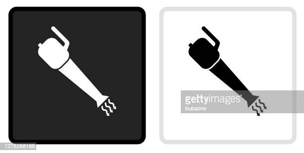 leaf blower icon on  black button with white rollover - leaf blower stock illustrations