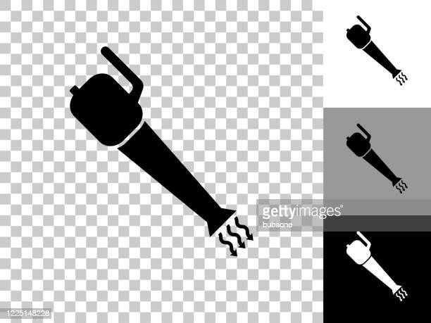 leaf blower icon on checkerboard transparent background - leaf blower stock illustrations