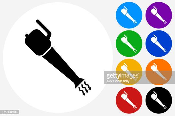 leaf blower icon on flat color circle buttons - leaf blower stock-grafiken, -clipart, -cartoons und -symbole