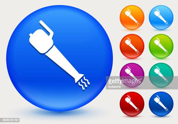 leaf blower icon on shiny color circle buttons - leaf blower stock illustrations, clip art, cartoons, & icons