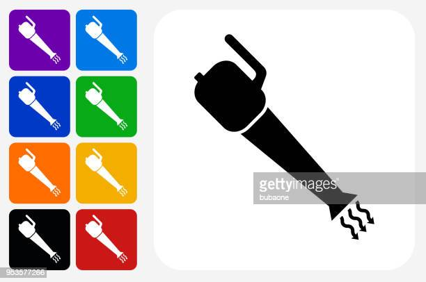 leaf blower icon square button set - leaf blower stock illustrations, clip art, cartoons, & icons