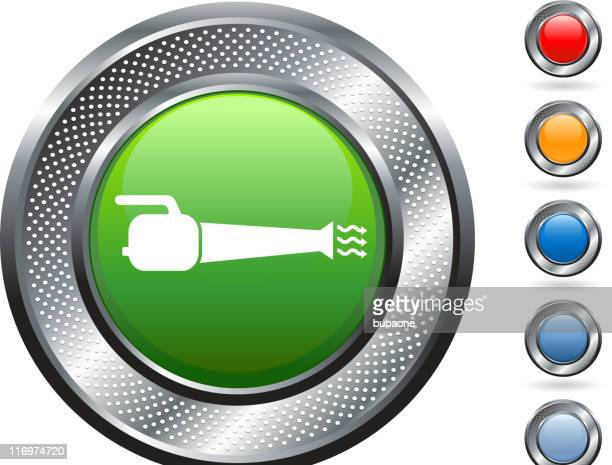 leaf blower royalty free vector art on metallic button - leaf blower stock illustrations