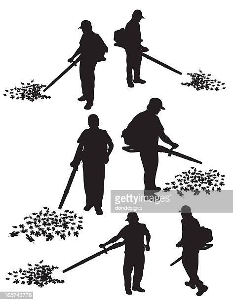 leaf blowing service - leaf blower stock illustrations, clip art, cartoons, & icons