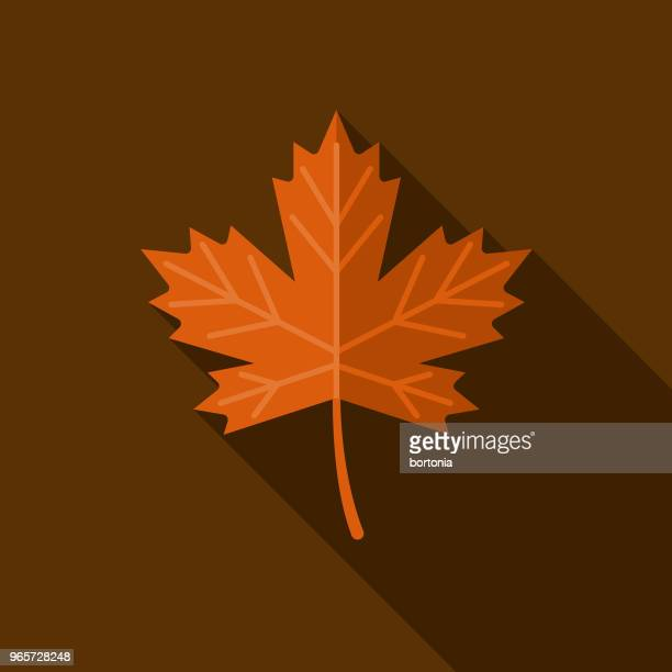 leaf flat design autumn icon with side shadow - maple leaf stock illustrations