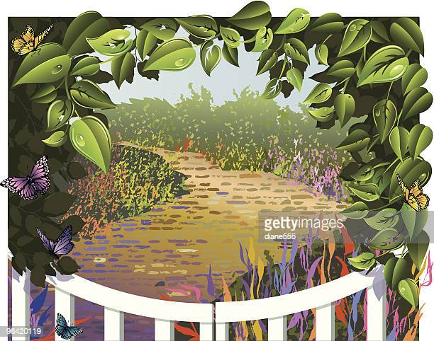 leaf frame around a garden gate with pathway - natural arch stock illustrations, clip art, cartoons, & icons
