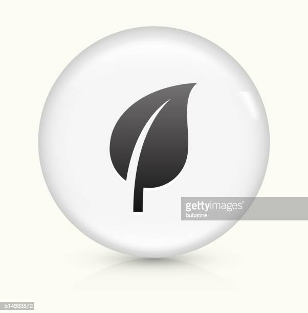 Leaf icon on white round vector button