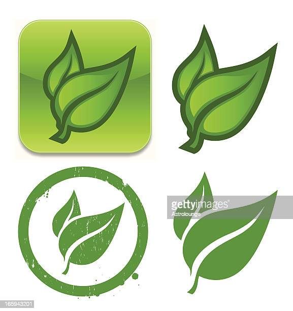 leaf icons - organic stock illustrations, clip art, cartoons, & icons