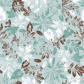 Leaf imprints. Foliage. Leaves Seamless pattern. Camouflage background