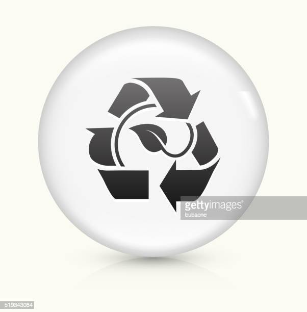 Leaf in Recycling Symbol icon on white round vector button