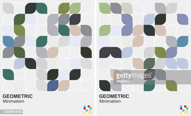 leaf style geometric minimalism background - single flower stock illustrations