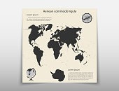Leaflet cover presentation abstract map geographic business infographics, technology annual report brochure flyer design template vector