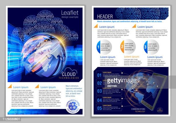 leaflet design example. global communications. - flyer leaflet stock illustrations