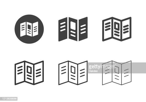 leaflet icons - multi series - pamphlet stock illustrations